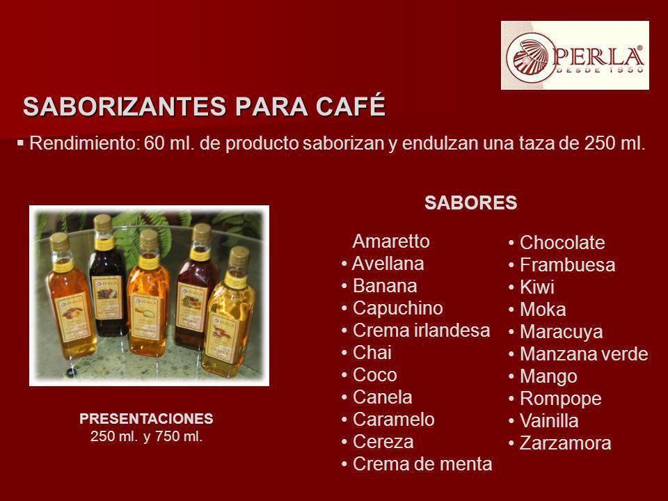 Rendimiento: 60 ml. de producto saborizan y endulzan una taza de 250 ml. PRESENTACIONES 250 ml. y 750 ml. SABORIZANTES PARA CAFÉ Amaretto Avellana Ban