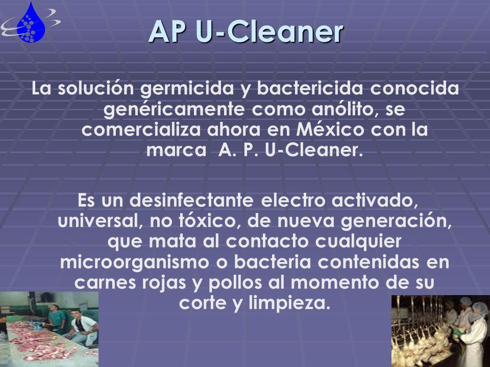 APLICACIONES AP U-Cleaner va destinado para la desinfección, limpieza purificación, esterilización y descontaminación de carnes rojas y pollo, ambiente y superficies, en canal, logrando así una desinfección total.