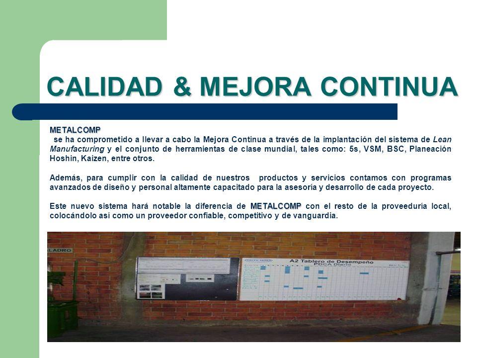 CALIDAD & MEJORA CONTINUA METALCOMP se ha comprometido a llevar a cabo la Mejora Continua a través de la implantación del sistema de Lean Manufacturin