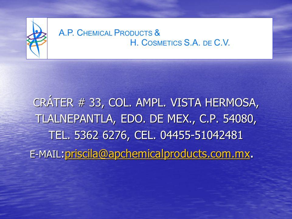 CRÁTER # 33, COL. AMPL. VISTA HERMOSA, TLALNEPANTLA, EDO.