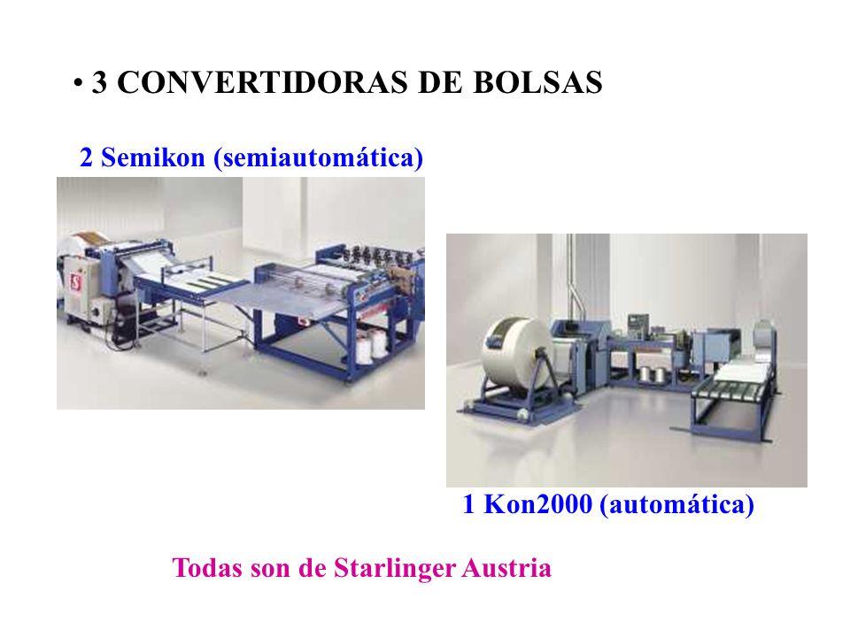 3 CONVERTIDORAS DE BOLSAS 2 Semikon (semiautomática) 1 Kon2000 (automática) Todas son de Starlinger Austria