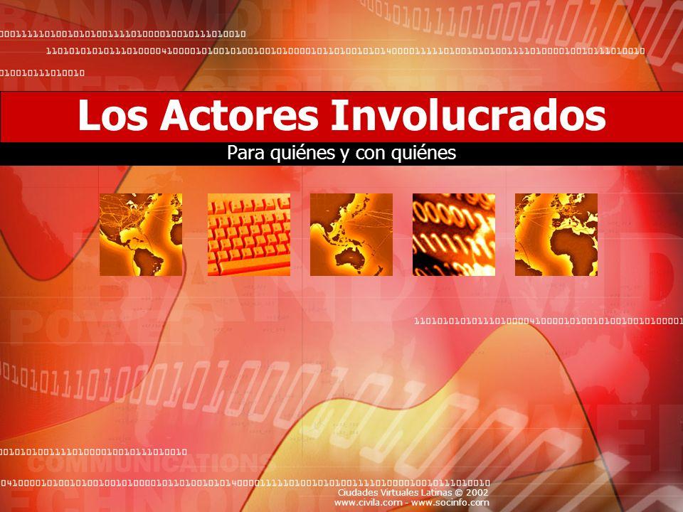 Ciudades Virtuales Latinas © 2002 www.civila.com - www.socinfo.com Los Actores Involucrados Para quiénes y con quiénes