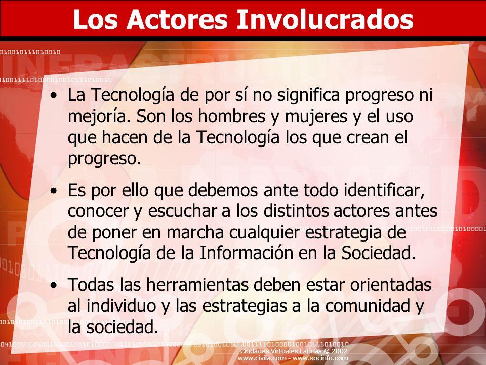 Ciudades Virtuales Latinas © 2002 www.civila.com - www.socinfo.com Los Actores Involucrados La Tecnología de por sí no significa progreso ni mejoría.