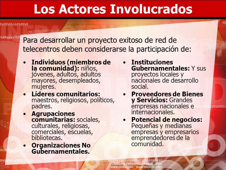 Ciudades Virtuales Latinas © 2002 www.civila.com - www.socinfo.com Los Actores Involucrados Individuos (miembros de la comunidad): niños, jóvenes, adu