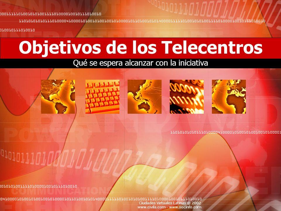 Ciudades Virtuales Latinas © 2002 www.civila.com - www.socinfo.com Objetivos de los Telecentros Qué se espera alcanzar con la iniciativa