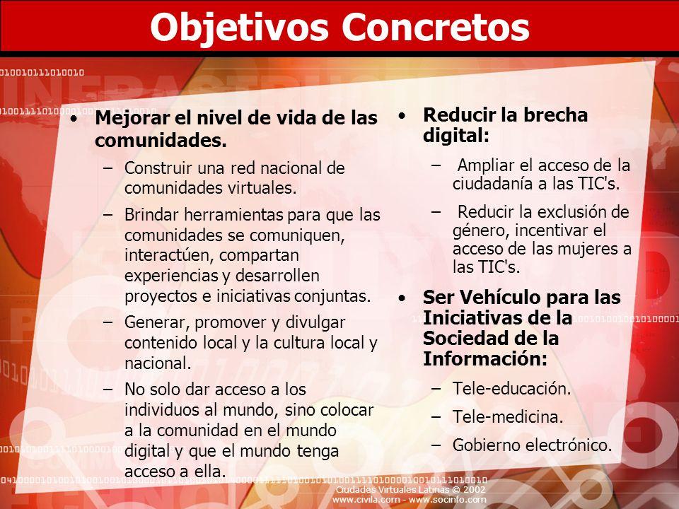 Ciudades Virtuales Latinas © 2002 www.civila.com - www.socinfo.com Objetivos Concretos Mejorar el nivel de vida de las comunidades. –Construir una red