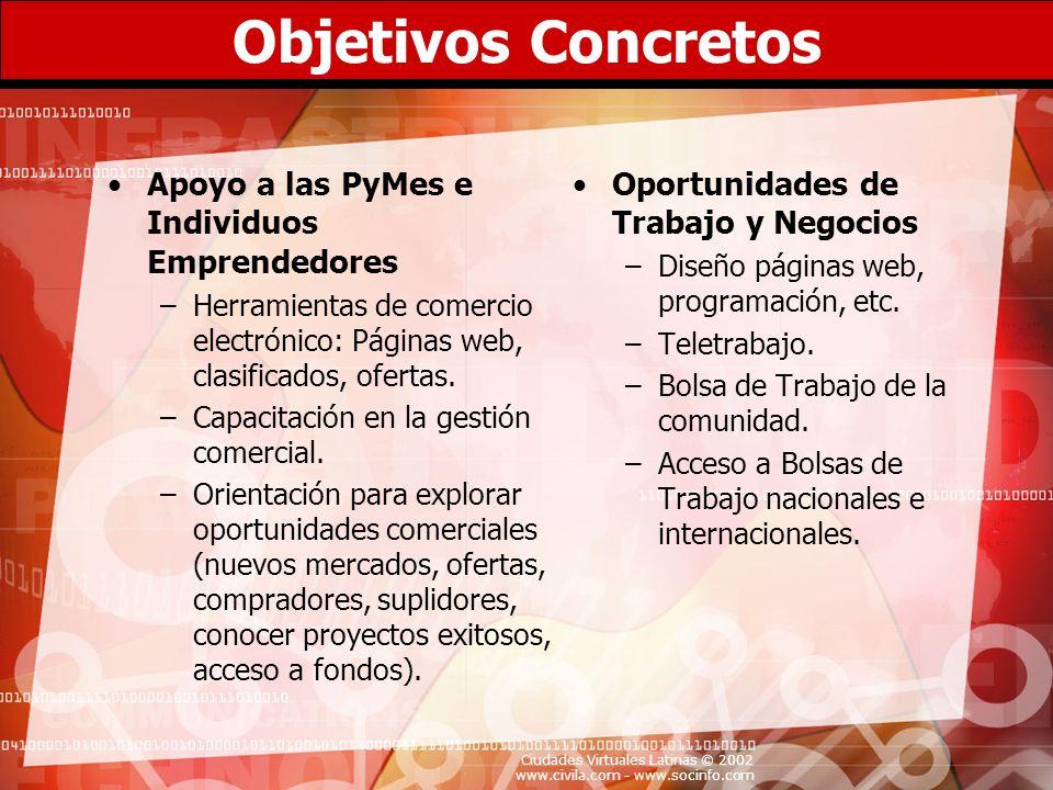 Ciudades Virtuales Latinas © 2002 www.civila.com - www.socinfo.com Objetivos Concretos Apoyo a las PyMes e Individuos Emprendedores –Herramientas de c