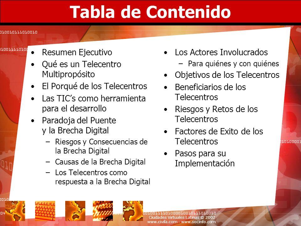 Ciudades Virtuales Latinas © 2002 www.civila.com - www.socinfo.com Retos de los Telecentros Riesgos, aspectos negativos y limitaciones a vencer