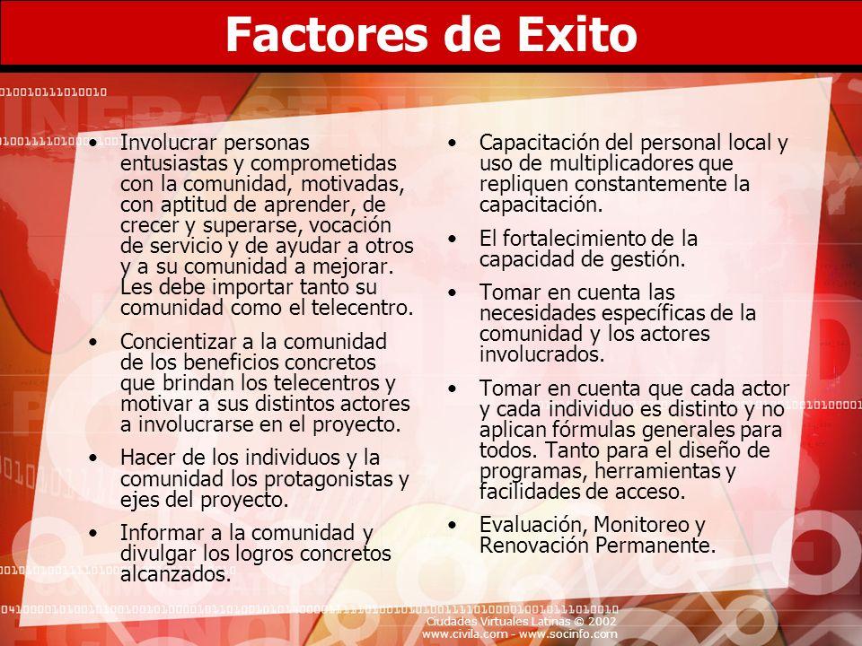 Ciudades Virtuales Latinas © 2002 www.civila.com - www.socinfo.com Factores de Exito Involucrar personas entusiastas y comprometidas con la comunidad,