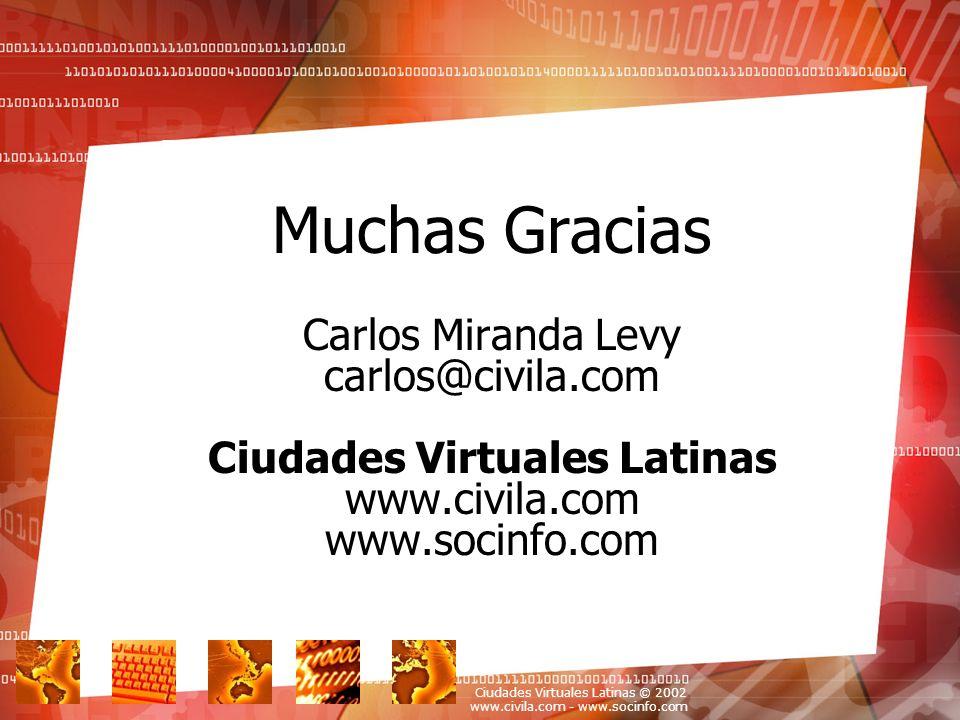 Ciudades Virtuales Latinas © 2002 www.civila.com - www.socinfo.com Your Topic Goes Here Muchas Gracias Carlos Miranda Levy carlos@civila.com Ciudades