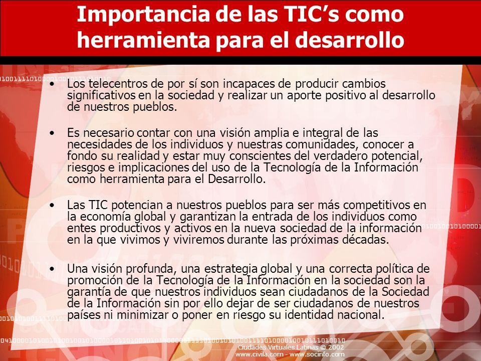 Ciudades Virtuales Latinas © 2002 www.civila.com - www.socinfo.com Importancia de las TICs como herramienta para el desarrollo Los telecentros de por