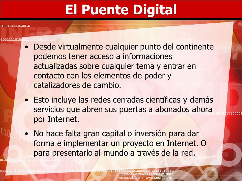Ciudades Virtuales Latinas © 2002 www.civila.com - www.socinfo.com La Brecha Digital Apenas unos 250,000 dominicanos cuentan con acceso al Internet, mientras más del 95% de nuestra población se mantiene ajena a la revolución digital y no participa ni siquiera como espectadores pasivos en la llamada sociedad de la información.