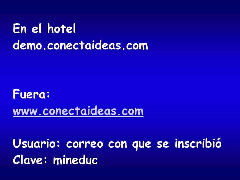 En el hotel demo.conectaideas.com Fuera: www.conectaideas.com Usuario: correo con que se inscribió Clave: mineduc