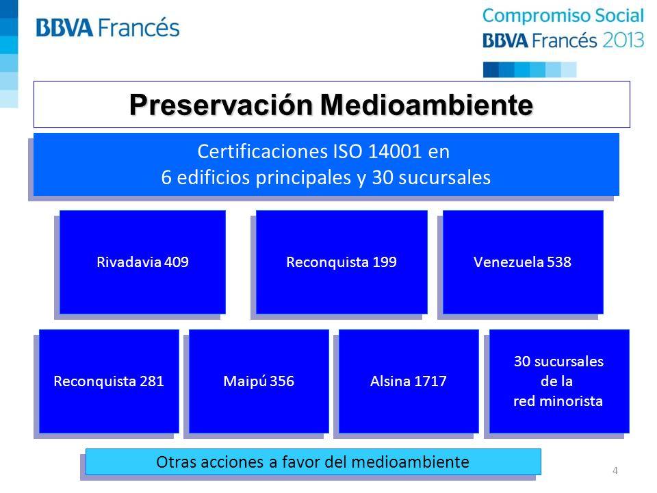 Preservación Medioambiente Certificaciones ISO 14001 en 6 edificios principales y 30 sucursales Certificaciones ISO 14001 en 6 edificios principales y 30 sucursales Rivadavia 409 Reconquista 199 Venezuela 538 Reconquista 281 Maipú 356 Alsina 1717 30 sucursales de la red minorista 30 sucursales de la red minorista Otras acciones a favor del medioambiente 4