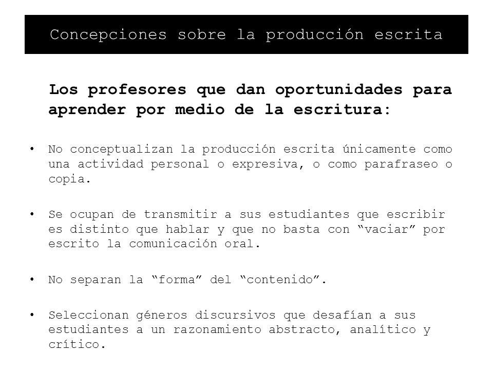 Concepciones sobre la producción escrita Los profesores que dan oportunidades para aprender por medio de la escritura: No conceptualizan la producción
