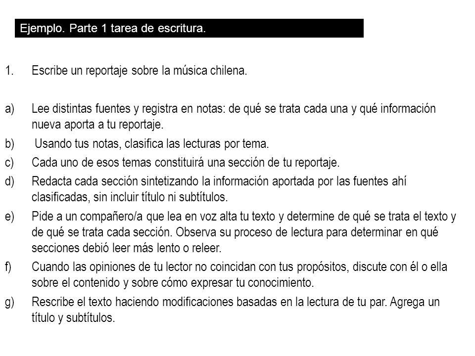 1.Escribe un reportaje sobre la música chilena. a)Lee distintas fuentes y registra en notas: de qué se trata cada una y qué información nueva aporta a