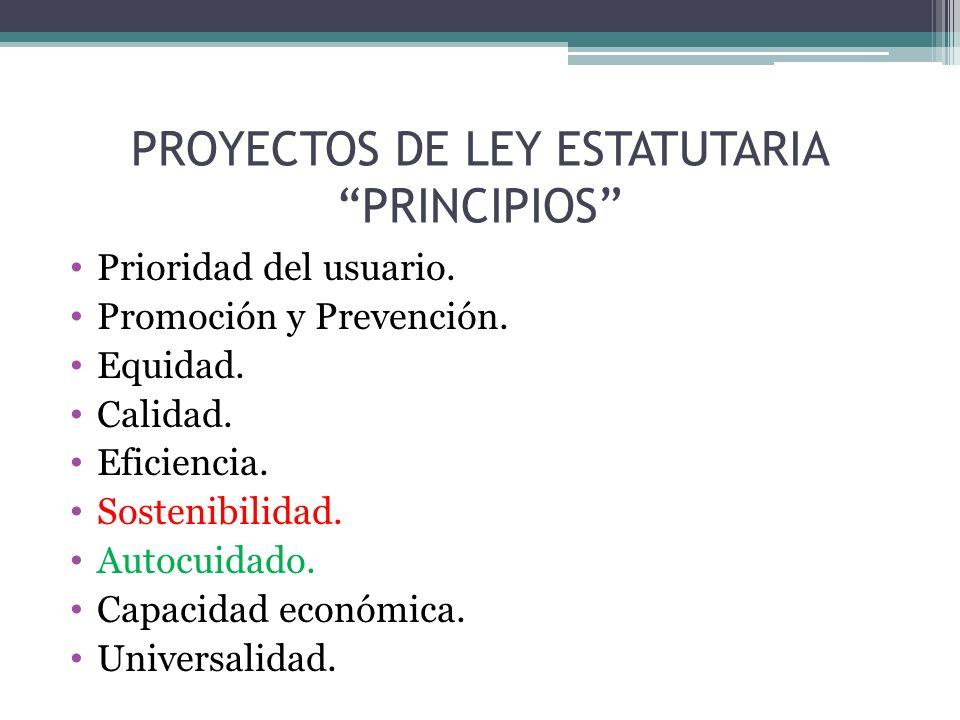 PROYECTOS DE LEY ESTATUTARIA PRINCIPIOS Prioridad del usuario.