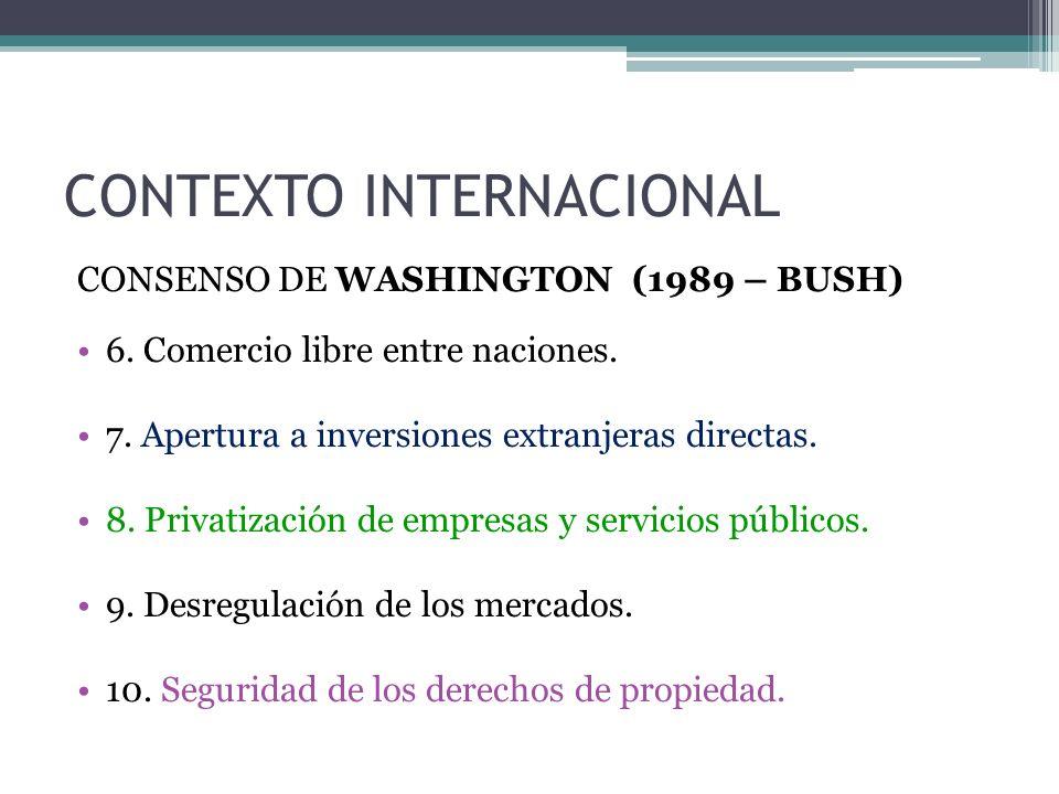 CONTEXTO INTERNACIONAL CONSENSO DE WASHINGTON (1989 – BUSH) 6.