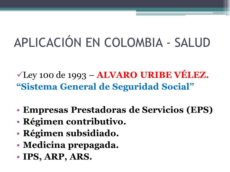 APLICACIÓN EN COLOMBIA - SALUD Ley 100 de 1993 – ALVARO URIBE VÉLEZ.