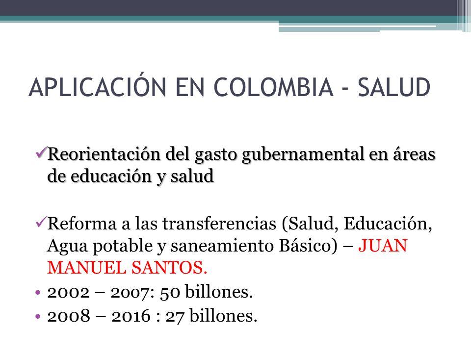 APLICACIÓN EN COLOMBIA - SALUD Reorientación del gasto gubernamental en áreas de educación y salud Reorientación del gasto gubernamental en áreas de educación y salud Reforma a las transferencias (Salud, Educación, Agua potable y saneamiento Básico) – JUAN MANUEL SANTOS.