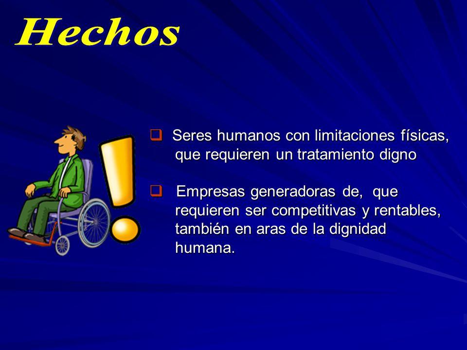 Seres humanos con limitaciones físicas, Seres humanos con limitaciones físicas, que requieren un tratamiento digno que requieren un tratamiento digno