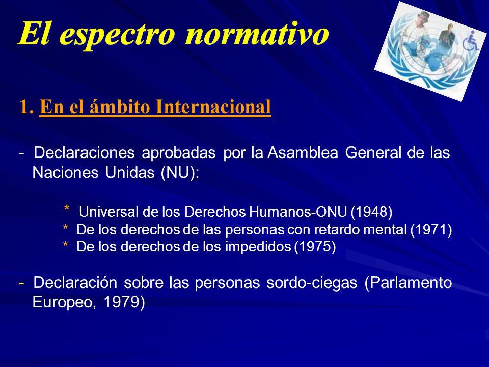 1. En el ámbito Internacional - Declaraciones aprobadas por la Asamblea General de las Naciones Unidas (NU): * Universal de los Derechos Humanos-ONU (