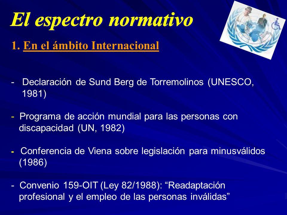 1. En el ámbito Internacional - Declaración de Sund Berg de Torremolinos (UNESCO, 1981) - Programa de acción mundial para las personas con discapacida