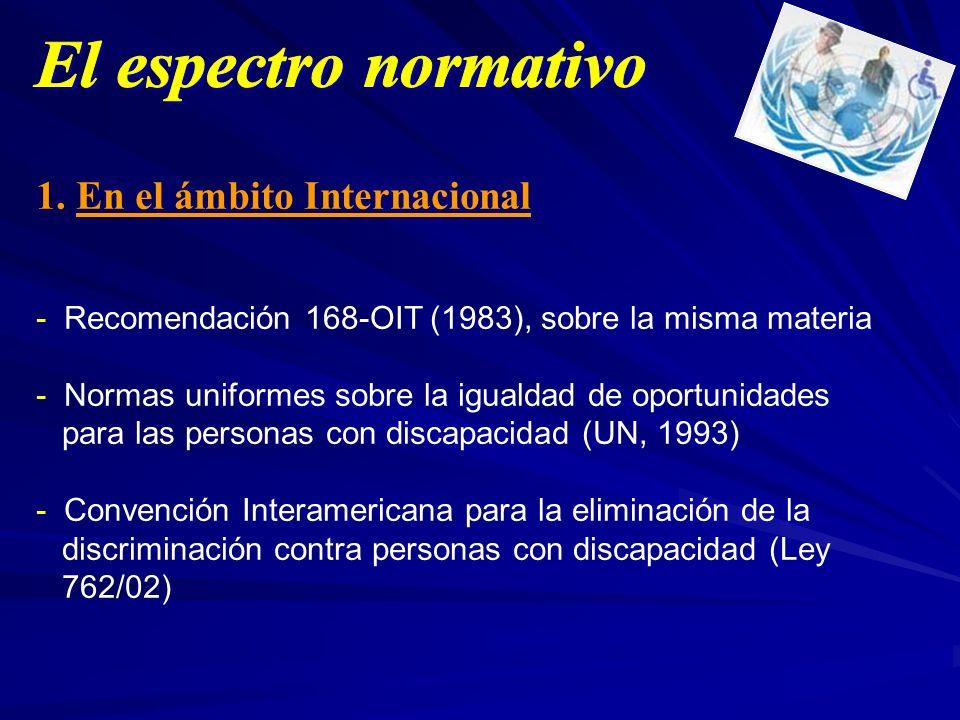 1. En el ámbito Internacional - Recomendación 168-OIT (1983), sobre la misma materia - Normas uniformes sobre la igualdad de oportunidades para las pe