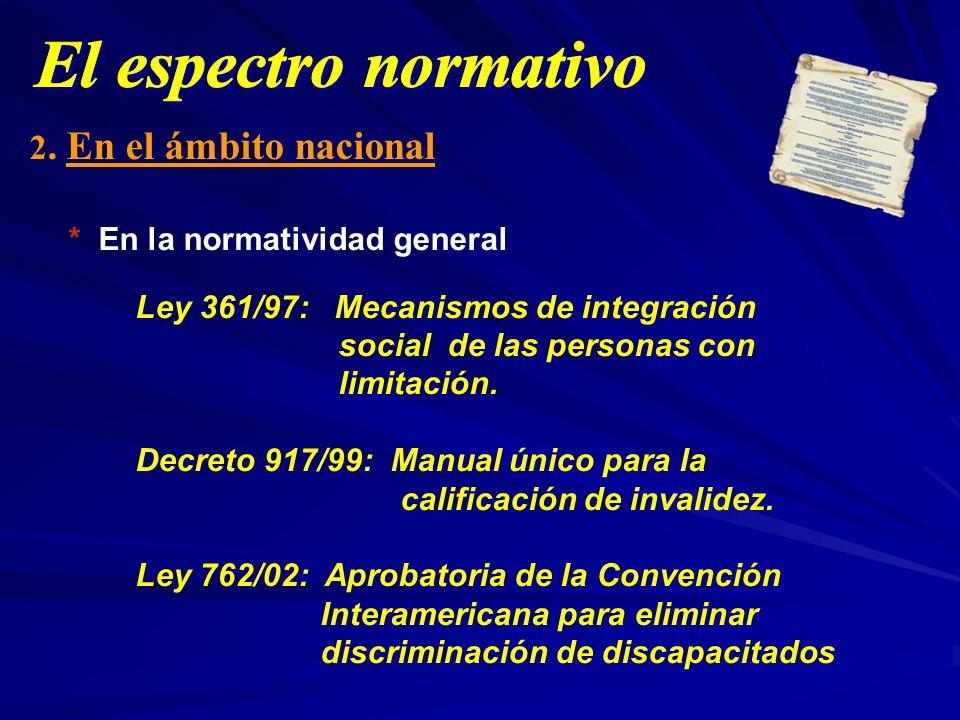 2. En el ámbito nacional * En la normatividad general Ley 361/97: Mecanismos de integración social de las personas con limitación. Decreto 917/99: Man