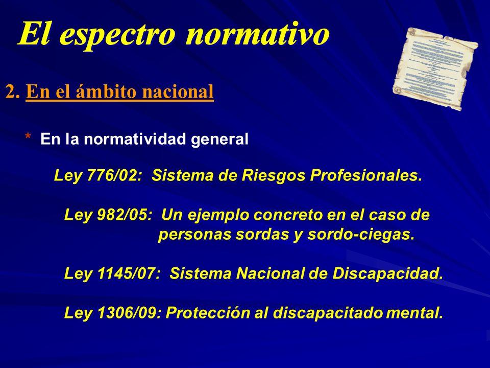 2. En el ámbito nacional * En la normatividad general Ley 776/02: Sistema de Riesgos Profesionales. Ley 982/05: Un ejemplo concreto en el caso de pers