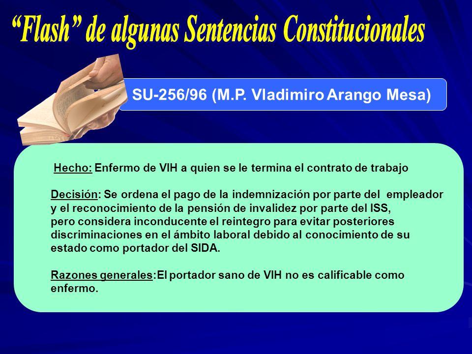 SU-256/96 (M.P. Vladimiro Arango Mesa) Hecho: Enfermo de VIH a quien se le termina el contrato de trabajo Decisión: Se ordena el pago de la indemnizac
