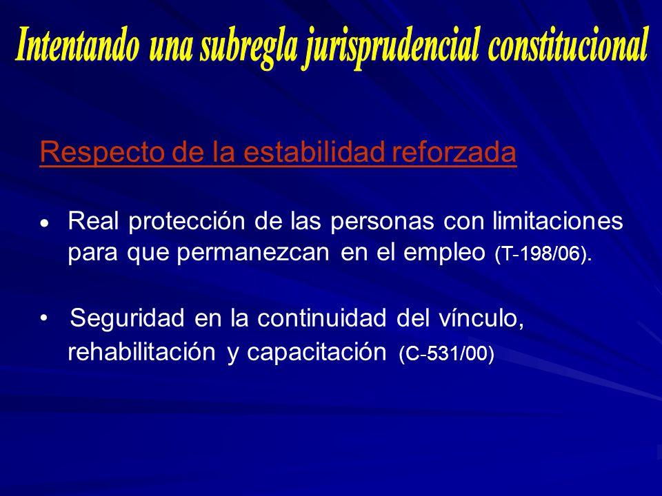 Respecto de la estabilidad reforzada Real protección de las personas con limitaciones para que permanezcan en el empleo (T-198/06). Seguridad en la co