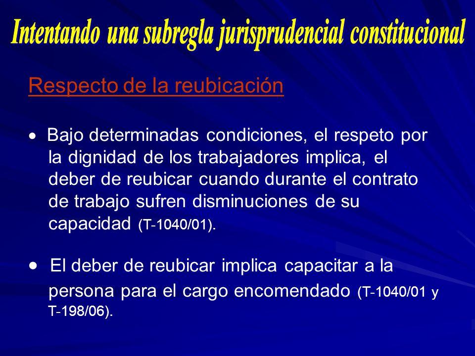 Respecto de la reubicación Bajo determinadas condiciones, el respeto por la dignidad de los trabajadores implica, el deber de reubicar cuando durante
