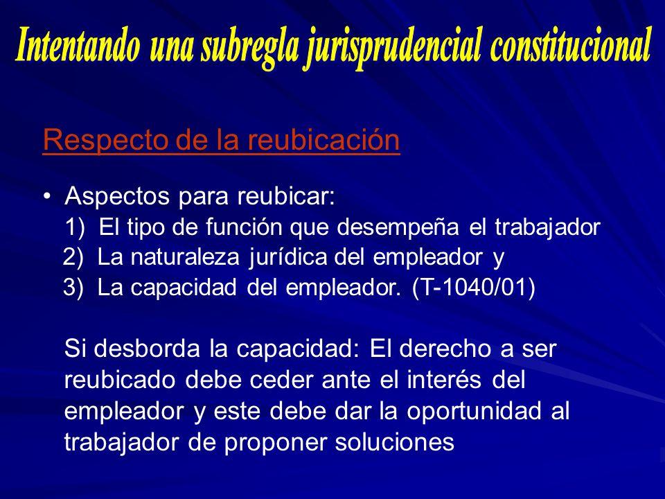 Respecto de la reubicación Aspectos para reubicar: 1) El tipo de función que desempeña el trabajador 2) La naturaleza jurídica del empleador y 3) La c