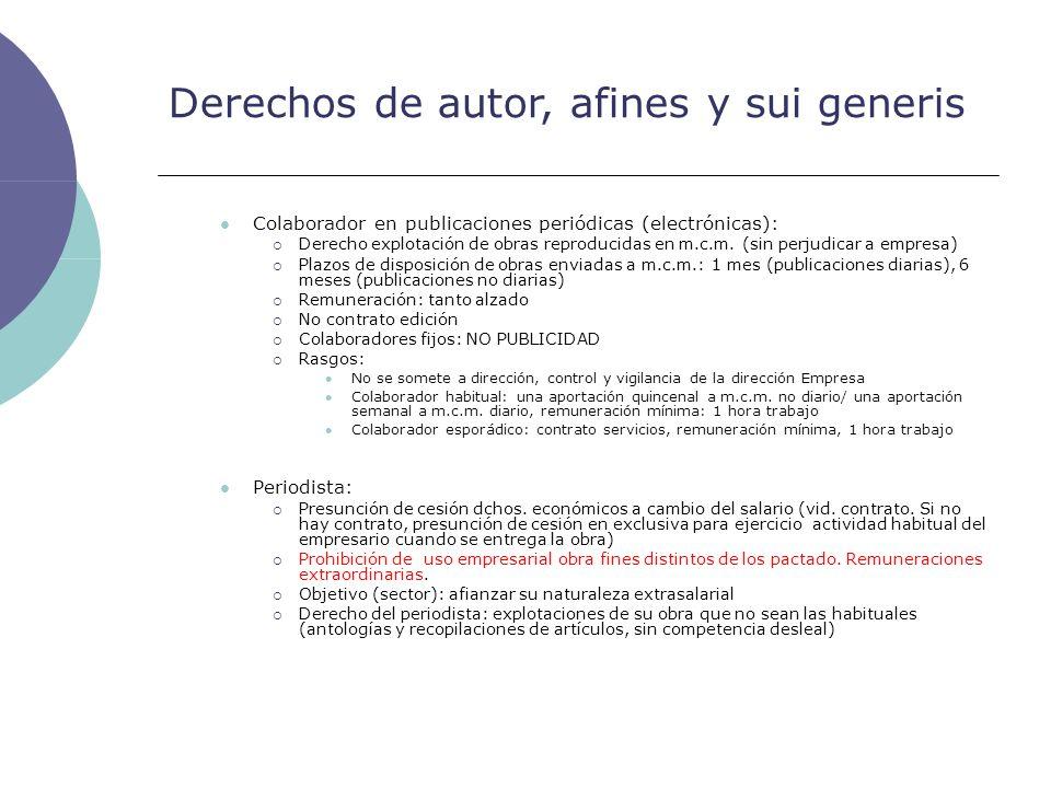 Derechos de autor, afines y sui generis Colaborador en publicaciones periódicas (electrónicas): Derecho explotación de obras reproducidas en m.c.m. (s