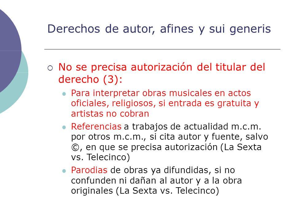 Derechos de autor, afines y sui generis No se precisa autorización del titular del derecho (3): Para interpretar obras musicales en actos oficiales, r