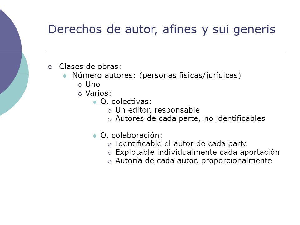 Derechos de autor, afines y sui generis Clases de obras: Número autores: (personas físicas/jurídicas) Uno Varios: O. colectivas: Un editor, responsabl