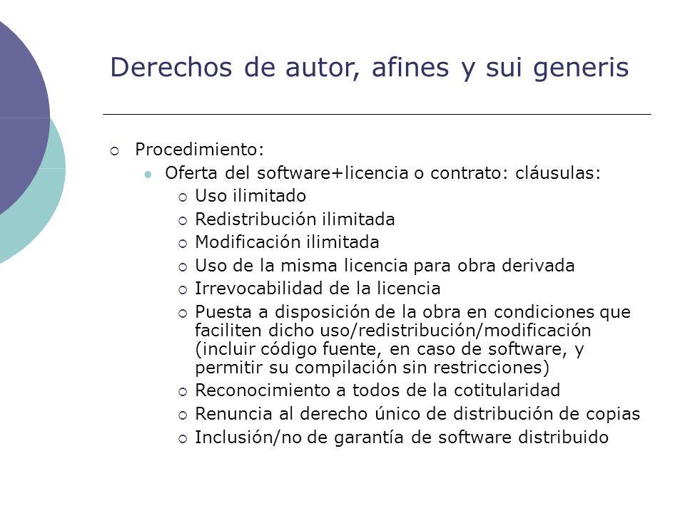 Derechos de autor, afines y sui generis Procedimiento: Oferta del software+licencia o contrato: cláusulas: Uso ilimitado Redistribución ilimitada Modi