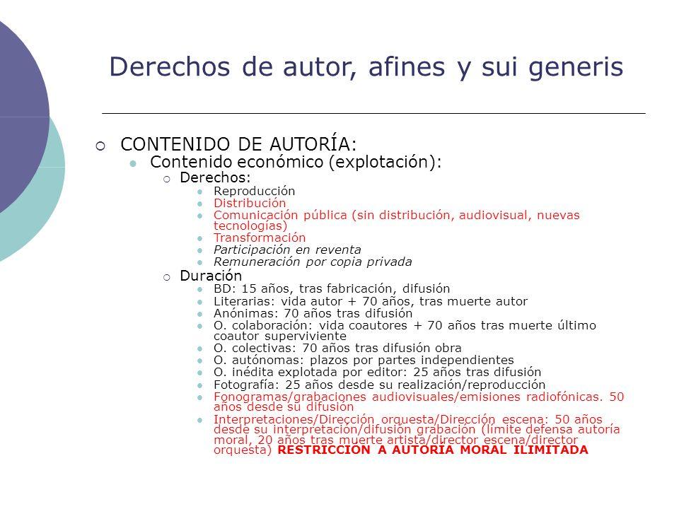 Derechos de autor, afines y sui generis CONTENIDO DE AUTORÍA: Contenido económico (explotación): Derechos: Reproducción Distribución Comunicación públ