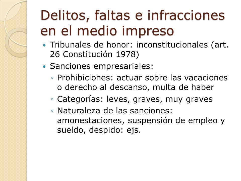 Delitos, faltas e infracciones en el medio impreso Tribunales de honor: inconstitucionales (art.