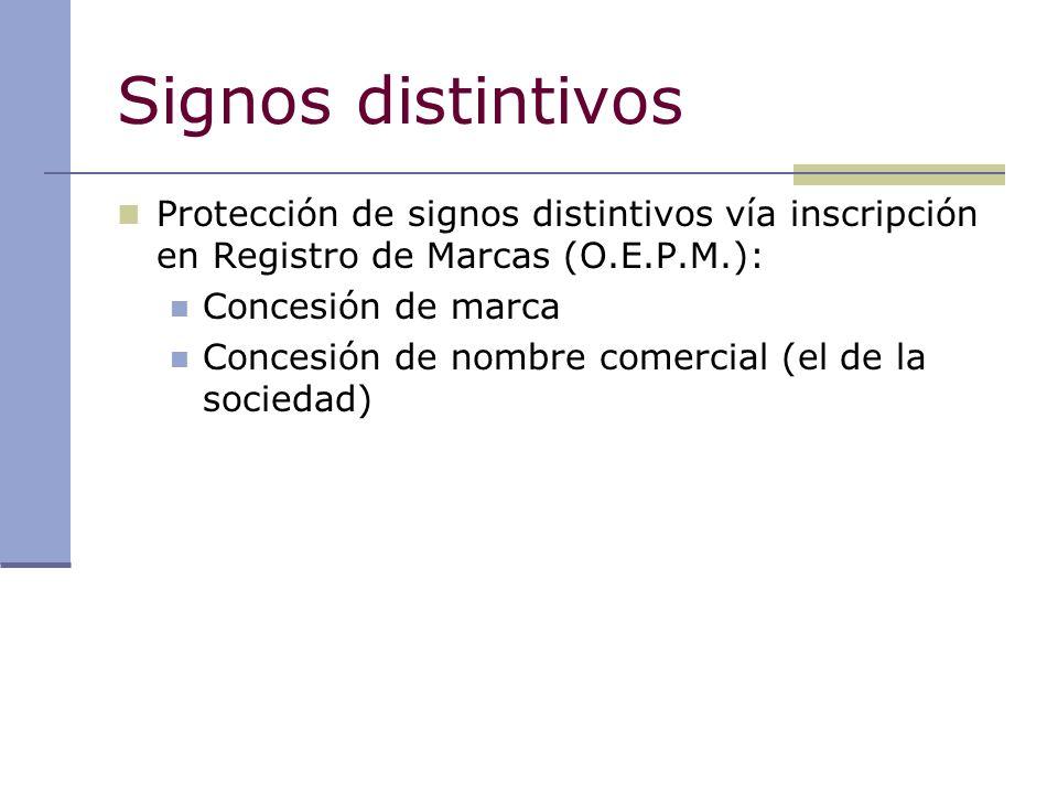 Signos distintivos Protección de signos distintivos vía inscripción en Registro de Marcas (O.E.P.M.): Concesión de marca Concesión de nombre comercial