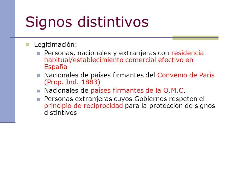 Signos distintivos Legitimación: Personas, nacionales y extranjeras con residencia habitual/establecimiento comercial efectivo en España Nacionales de