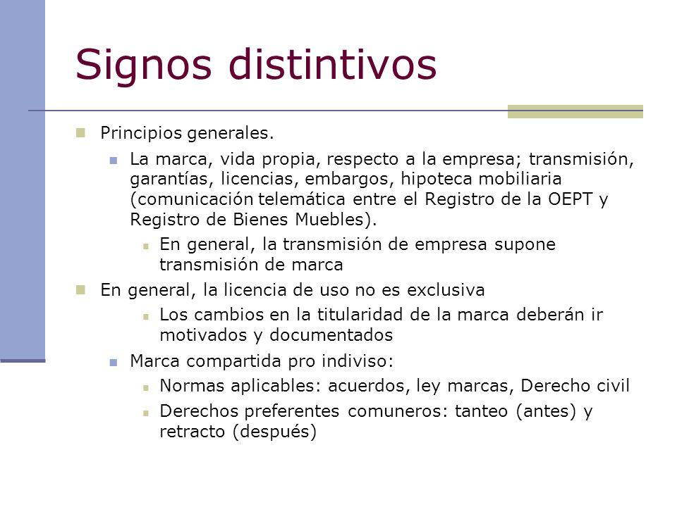 Signos distintivos Principios generales. La marca, vida propia, respecto a la empresa; transmisión, garantías, licencias, embargos, hipoteca mobiliari