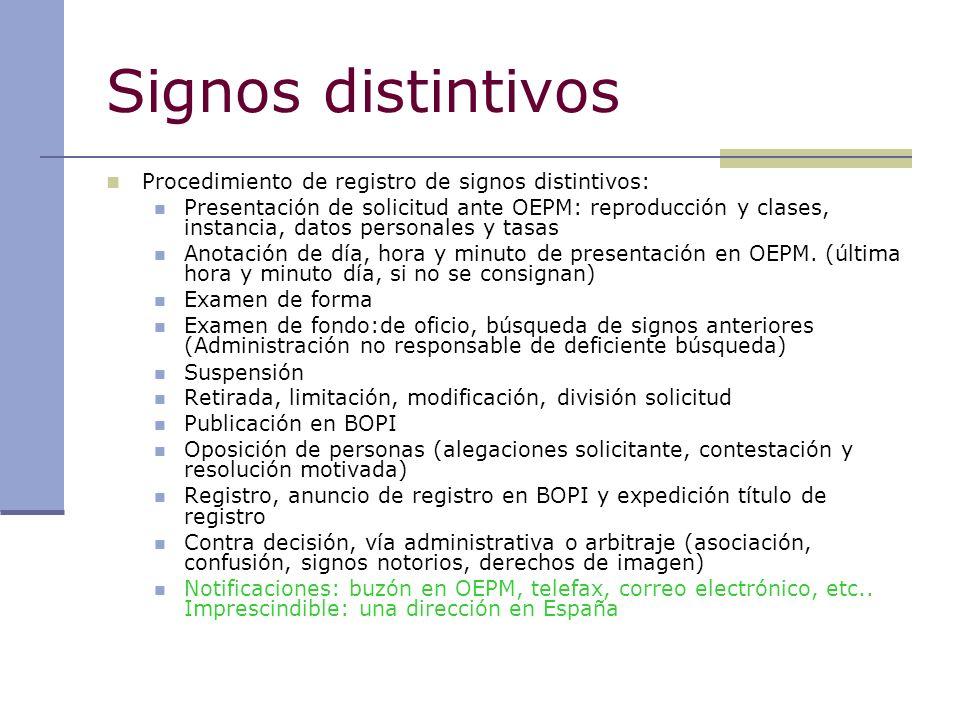 Signos distintivos Procedimiento de registro de signos distintivos: Presentación de solicitud ante OEPM: reproducción y clases, instancia, datos perso