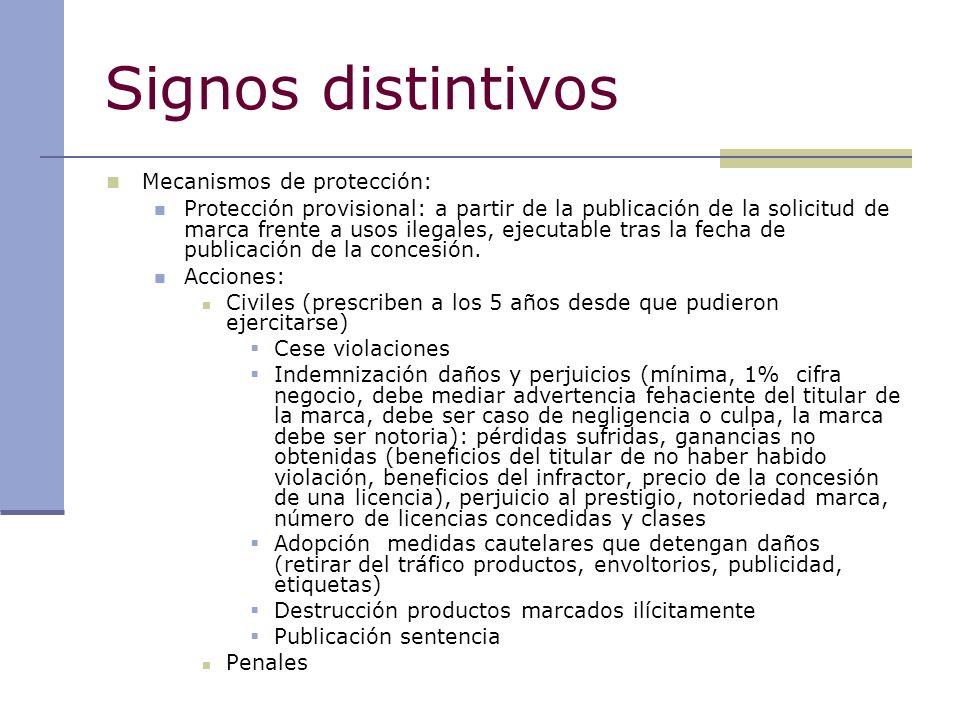 Signos distintivos Mecanismos de protección: Protección provisional: a partir de la publicación de la solicitud de marca frente a usos ilegales, ejecu