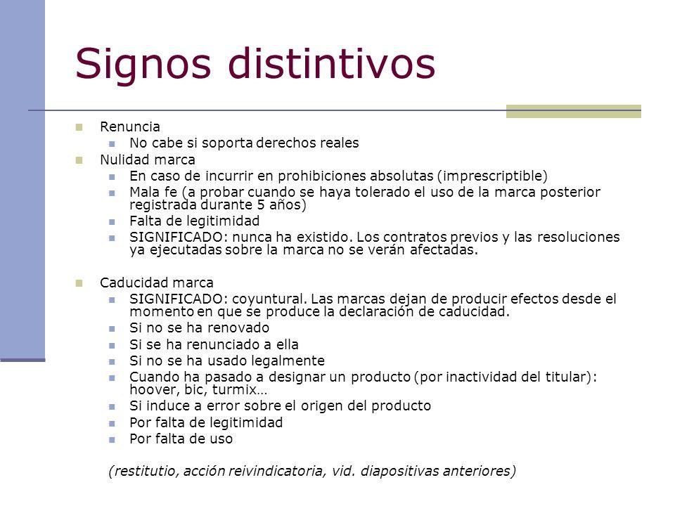 Signos distintivos Renuncia No cabe si soporta derechos reales Nulidad marca En caso de incurrir en prohibiciones absolutas (imprescriptible) Mala fe