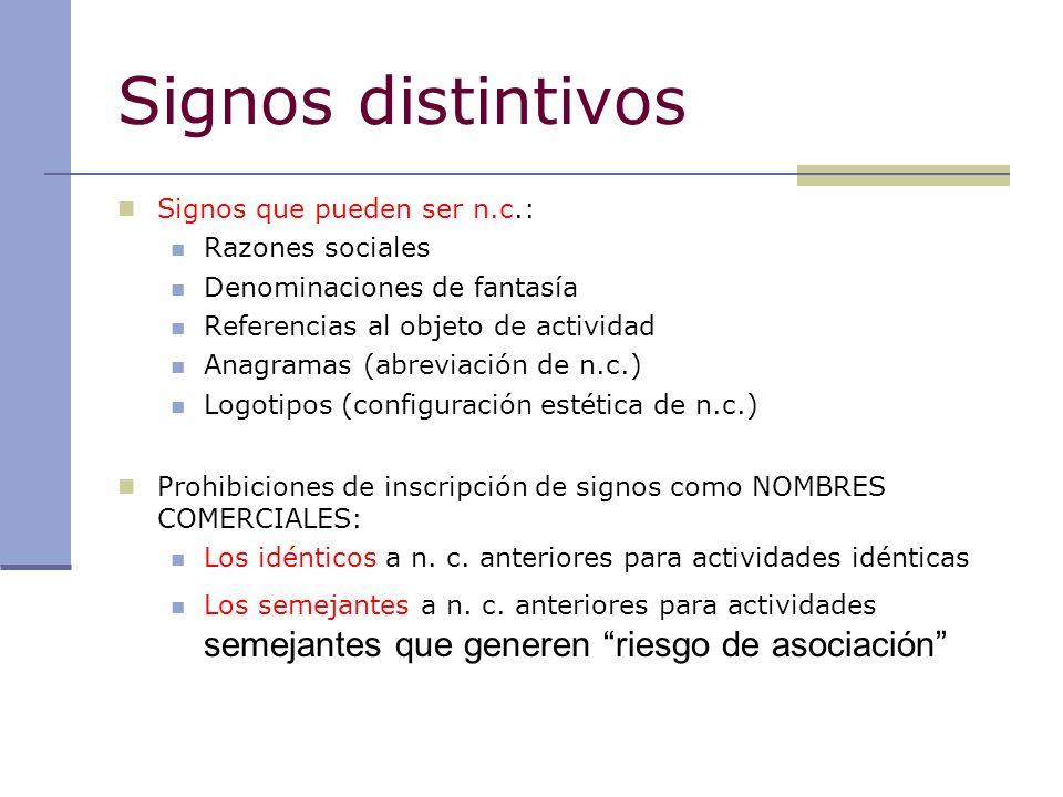 Signos distintivos Signos que pueden ser n.c.: Razones sociales Denominaciones de fantasía Referencias al objeto de actividad Anagramas (abreviación d