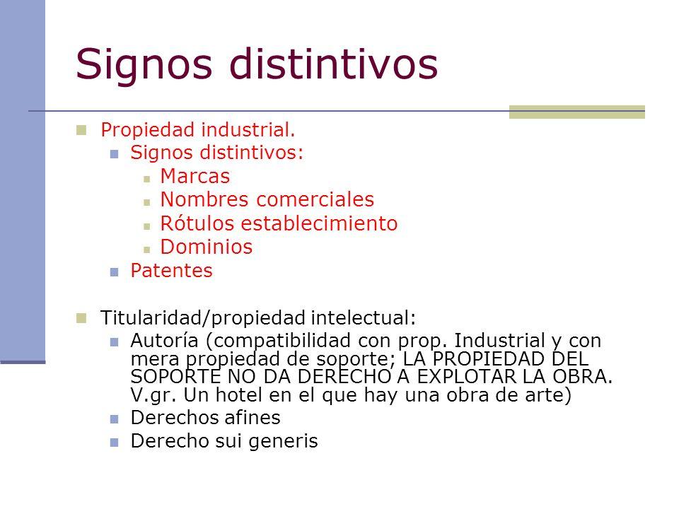 Signos distintivos Propiedad industrial. Signos distintivos: Marcas Nombres comerciales Rótulos establecimiento Dominios Patentes Titularidad/propieda