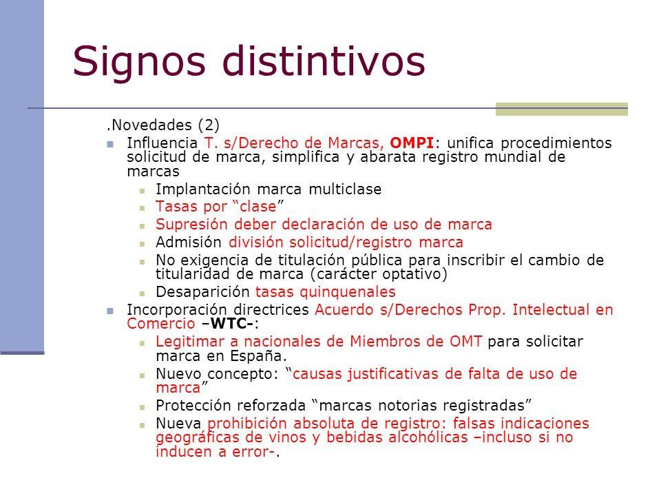 Signos distintivos Novedades (3): RÓTULOS ESTABLECIMIENTO Supresión del carácter registral de RÓTULOS ESTABLECIMIENTO (protección vía COMPETENCIA DESLEAL) NOMBRE COMERCIAL: derecho usuario anterior de N.C.