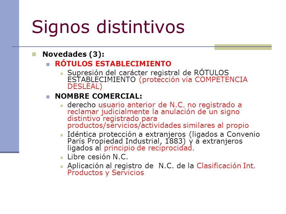 Signos distintivos Novedades (3): RÓTULOS ESTABLECIMIENTO Supresión del carácter registral de RÓTULOS ESTABLECIMIENTO (protección vía COMPETENCIA DESL